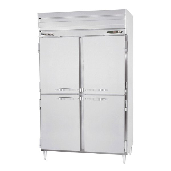 "Beverage-Air PRD2-1AHS 52"" Stainless Steel Solid Half Door Pass-Through Refrigerator"