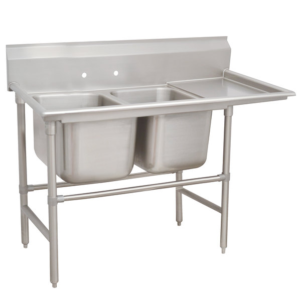 Right Drainboard Advance Tabco 94-42-48-36 Spec Line Two Compartment Pot Sink with One Drainboard - 92""
