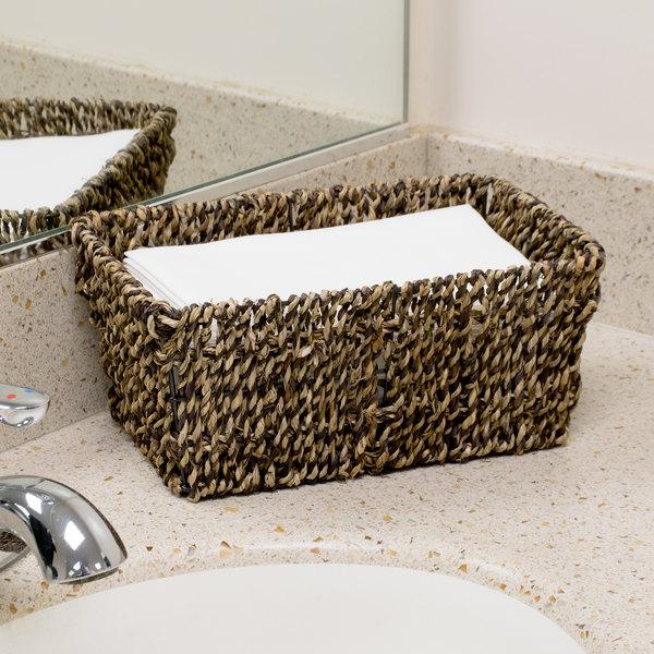 Hoffmaster BSK2151 Seagrass Wicker Guest Towel Basket / Holder