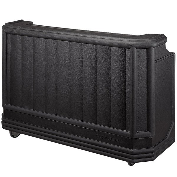 """Cambro BAR730DX110 Black Deluxe Cambar 73"""" Portable Bar with 7 Bottle Speed Rail, Cold Plate, and Soda Gun Main Image 1"""