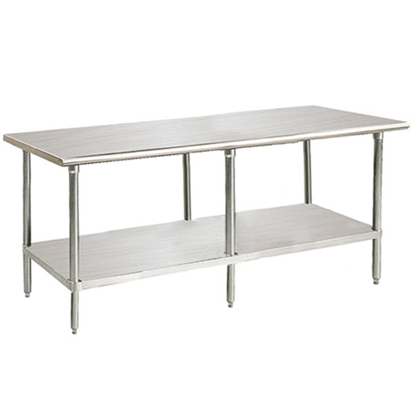 """Advance Tabco Premium Series SS-3011 30"""" x 132"""" 14 Gauge Stainless Steel Commercial Work Table with Undershelf"""