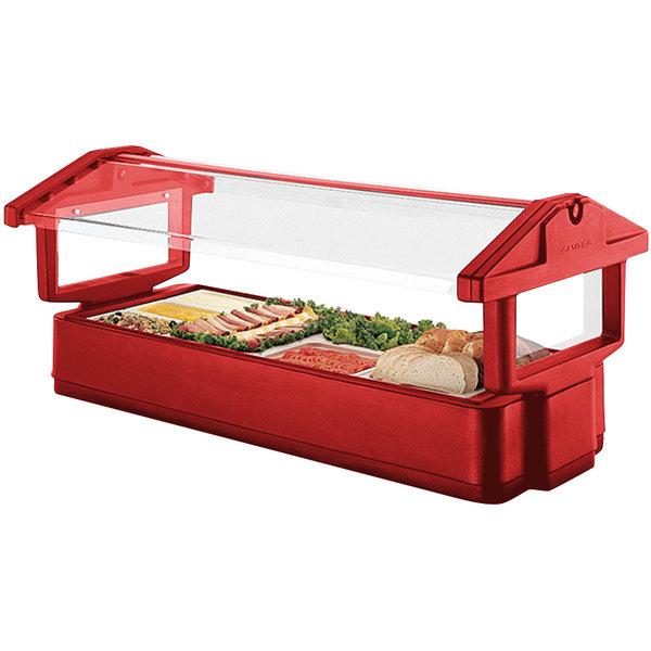 "Cambro 5FBRTT158 64"" x 33"" x 27"" Red Table Top Food / Salad Bar"
