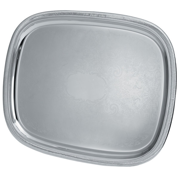 """Vollrath 82371 Elegant Reflections 23 1/2"""" x 18 1/8"""" Silver Plated Stainless Steel Oblong Catering Tray"""