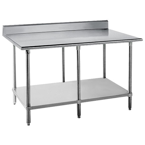 """Advance Tabco KSS-2411 24"""" x 132"""" 14 Gauge Work Table with Stainless Steel Undershelf and 5"""" Backsplash"""
