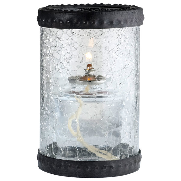 "Sterno Products 80304 5"" Clear Crackle Glass Liquid Candle Holder with Bronze Rings"