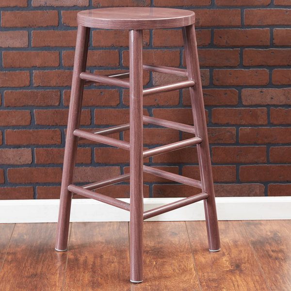 """Lancaster Table & Seating Spartan Series 30"""" Metal Woodgrain Barstool with Wine Color Finish"""