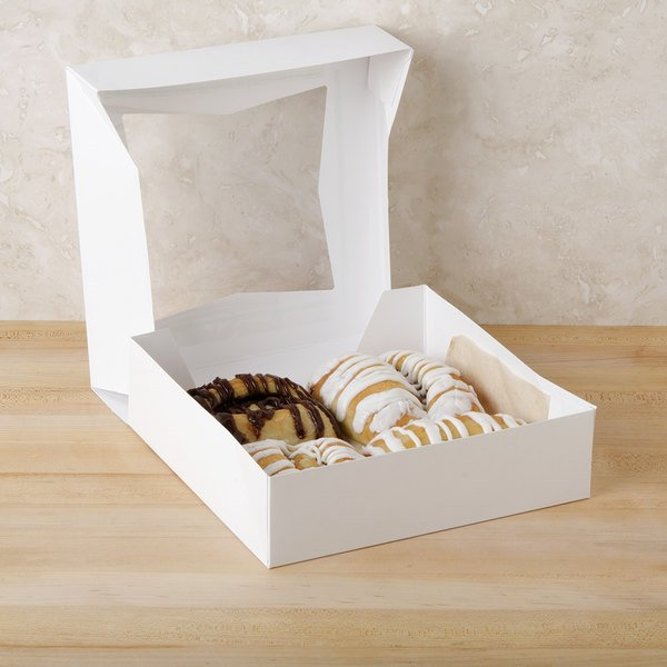 "Southern Champion 24133 9"" x 9"" x 2 1/2"" White Auto-Popup Window Pie / Bakery Box - 200/Bundle"