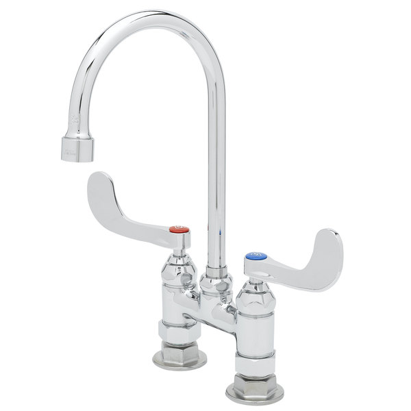 "T&S B-0328-CR-VF05 Deck Mount Faucet with 4"" Centers, Cerama Cartridges, and Wrist Action Handles - 13 3/8"" High Gooseneck with 5 9/16"" Spread"