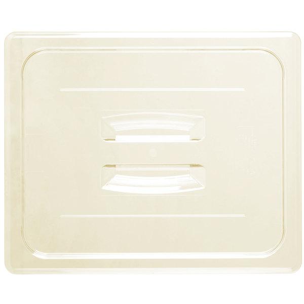 Cambro 20HPCH150 H-Pan 1/2 Size Amber High Heat Handled Flat Lid