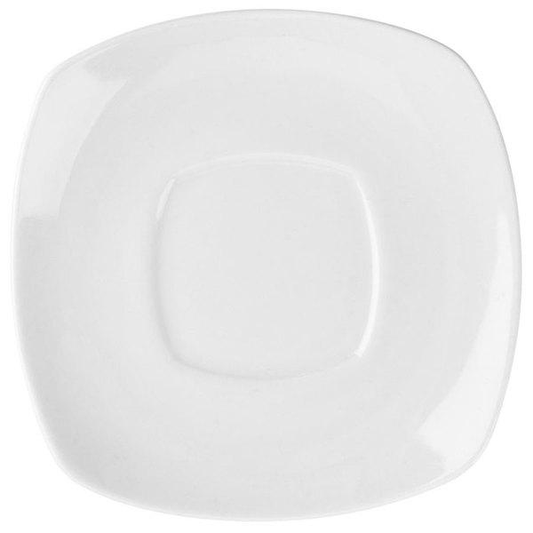 "4 1/2"" Bright White Square Porcelain Saucer - 36/Case"