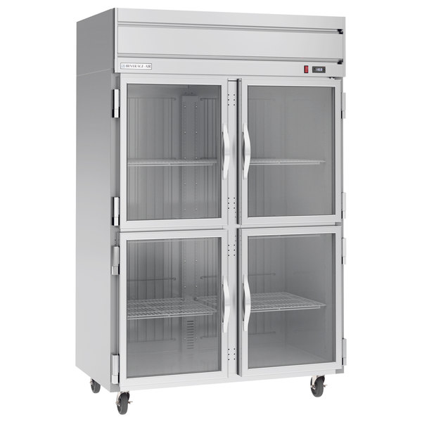 Beverage-Air HFP2-1HG 2 Section Glass Half Door Reach-In Freezer - 49 cu. ft., Stainless Steel Exterior Main Image 1
