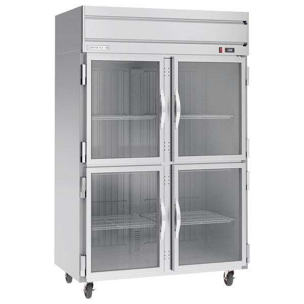 Beverage-Air HFP2-1HG 2 Section Glass Half Door Reach-In Freezer - 49 cu. ft., Stainless Steel Exterior