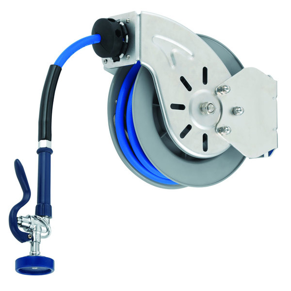 T&S B-7142-10 50' Open Stainless Steel Hose Reel with EB-2322 Extended Spray Wand