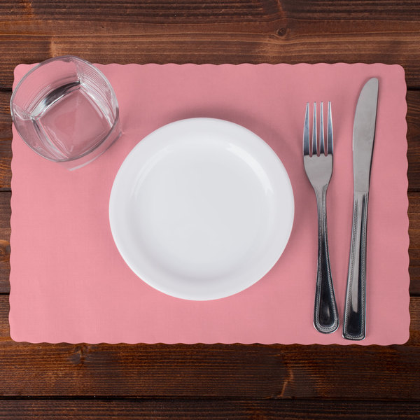 """Hoffmaster 310525 10"""" x 14"""" Dusty Rose Pink Colored Paper Placemat with Scalloped Edge - 1000/Case Main Image 2"""