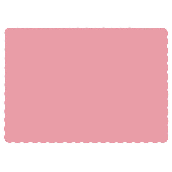 "Hoffmaster 310525 10"" x 14"" Dusty Rose Pink Colored Paper Placemat with Scalloped Edge - 1000/Case"