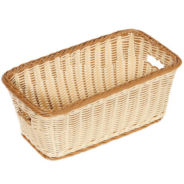 "GET WB-1520-TT Designer Polyweave 16"" x 9"" x 6 3/4"" Two-Tone Rectangular Plastic Basket - 6/Pack"
