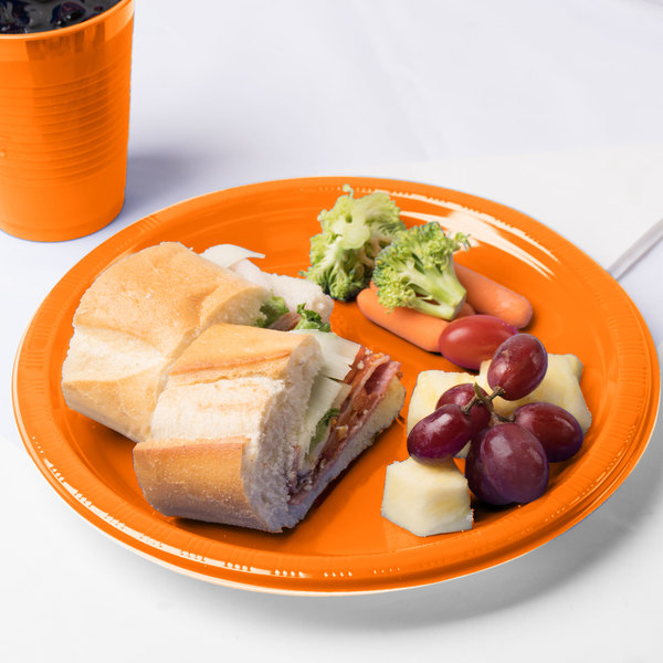 "Creative Converting 28191031 10"" Sunkissed Orange Plastic Plate - 20/Pack"