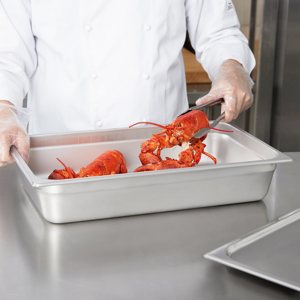 """4"""" Deep, Full Size Standard Weight Economy Stainless Steel Steam Table / Hotel Pan"""