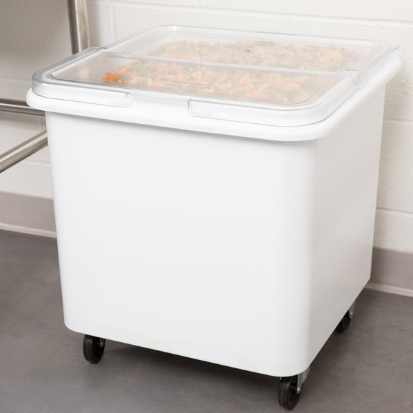 Rubbermaid FG360100WHT ProSave 28 Gallon / 445 Cup White Flat Top Mobile Ingredient Storage Bin with Sliding Lid
