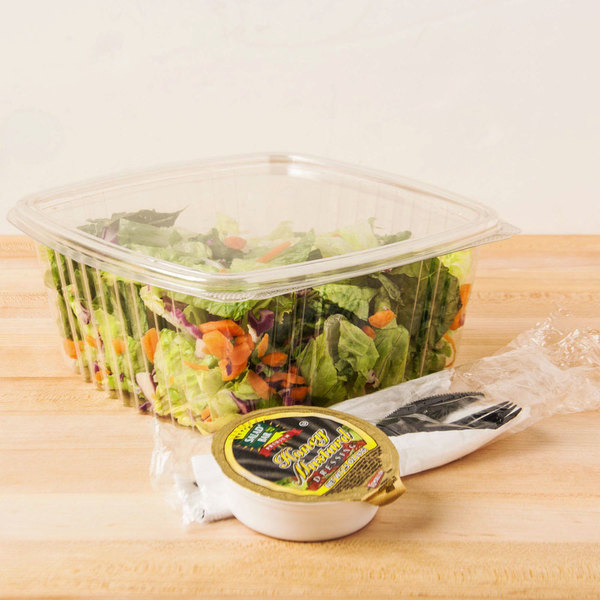 Genpak AD64 2 Qt. Clear Hinged Deli Container - 100/Pack Main Image 5