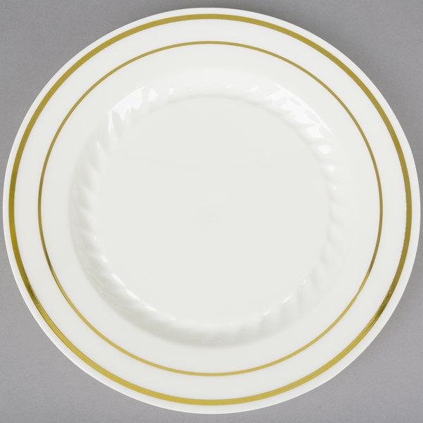 Create a sophisticated presentation at your next catered event or special meal with this Fineline Silver Splendor 506-BO 6  bone / ivory plastic plate !  sc 1 st  WebstaurantStore & Fineline Silver Splendor 506-BO 6