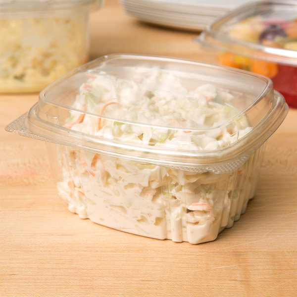 Genpak AD16F 16 oz. Clear Hinged Deli Container with High Dome Lid - 100/Pack Main Image 6