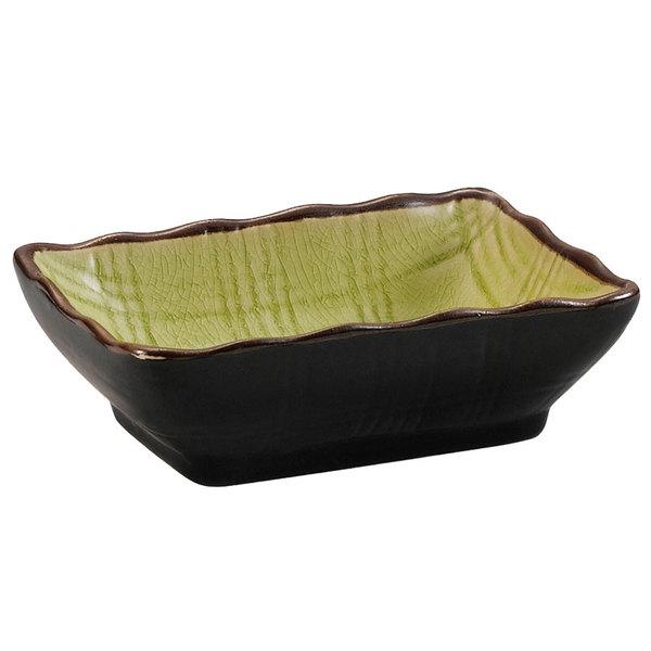 "CAC 666-32-G Japanese Style 3 1/4"" x 2 1/2"" China Sauce Dish - Black Non-Glare Glaze / Golden Green - 48/Case"