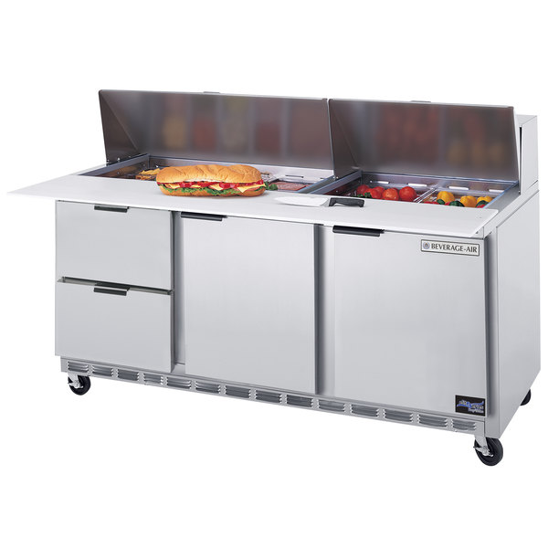 """Beverage Air SPED72-10C-2 72"""" 2 Door 2 Drawer Cutting Top Refrigerated Sandwich Prep Table with 17"""" Wide Cutting Board"""