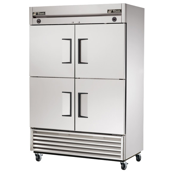 True T-49DT-4 Four Solid Half Door Dual Temperature Combination Reach In Refrigerator / Freezer
