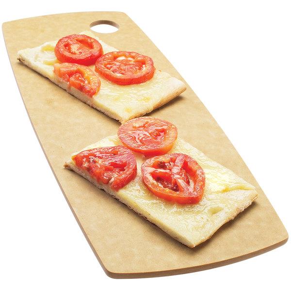 "Cal-Mil 1531-612-14 Natural Round Edge Rectangular Flat Bread Serving Board - 12"" x 6"" x 1/4"""