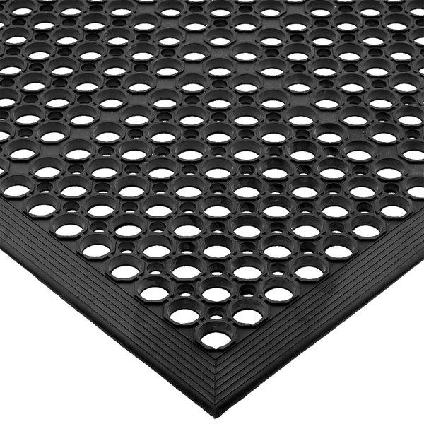 San Jamar KM1100B EZ-Mat 3' x 5' Black Grease-Resistant Bagged Floor Mat with Beveled Edge - 1/2 inch Thick