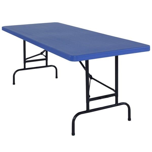 """NPS Adjustable Folding Table, 30"""" x 72"""" Plastic, Blue - BTA-3072-04"""