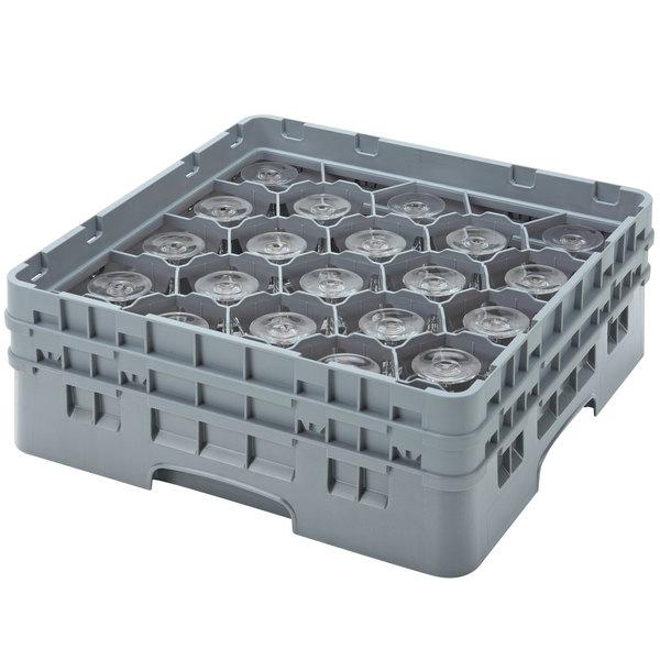 "Cambro 20S958151 Camrack Customizable 10 1/8"" Gray 20 Compartment Glass Rack"