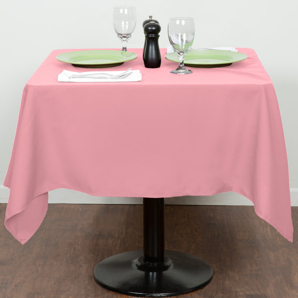"""54"""" x 54"""" Pink 100% Polyester Hemmed Cloth Table Cover"""