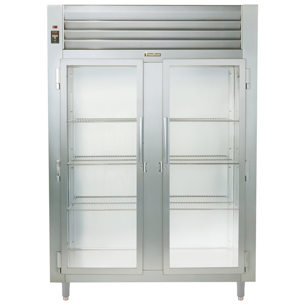 Traulsen RHT226WUT-FHG Stainless Steel Two Section Glass Door Shallow Depth Reach In Refrigerator - Specification Line Main Image 1