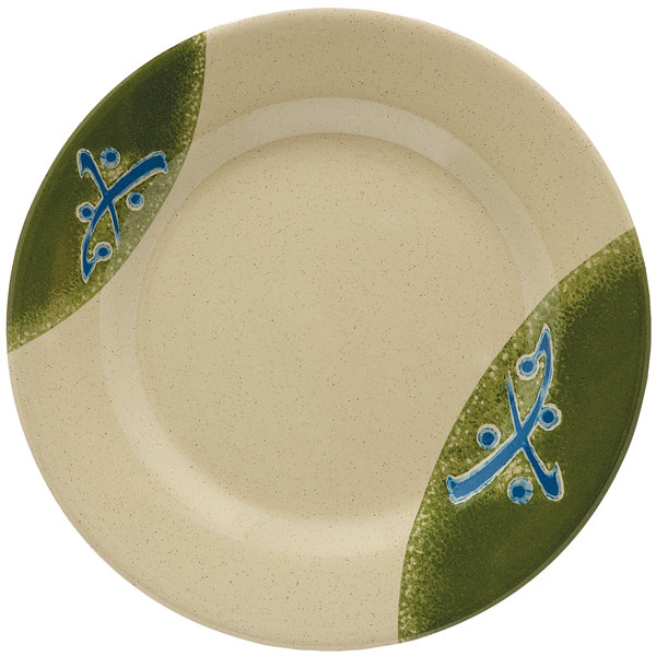 """GET M-5080-TD Japanese Traditional 9 1/2"""" Plate with Wide Rim - 12/Case"""