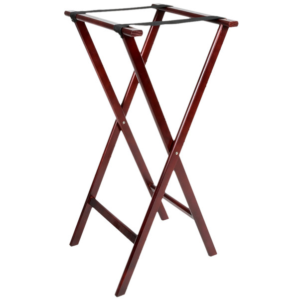 Lancaster Table & Seating 38 inch Folding Wood Tray Stand Red Brown