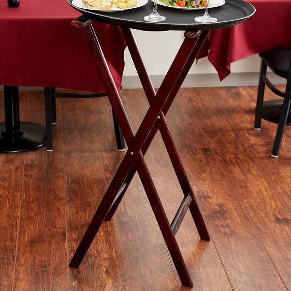 """Lancaster Table & Seating 38"""" Folding Wood Tray Stand Red Brown"""