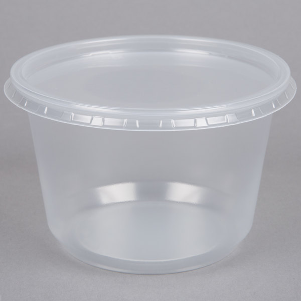 Choice 16 Oz Microwavable Contact Clear Round Deli Container And