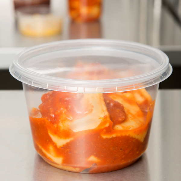 Choice 16 oz. Microwavable Translucent Round Deli Container and Lid Combo Pack - 250/Case