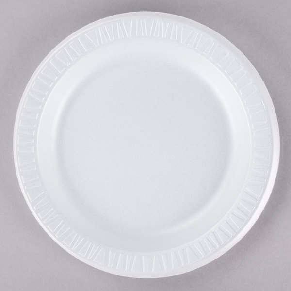 Dart 9PWQR Quiet Classic 9 inch White Laminated Round Foam Plate - 125/Pack