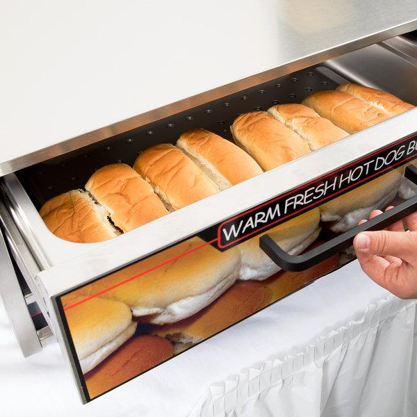 Nemco 8027-BW Moist Heat Hot Dog Bun Warmer for 8027 Series Roller Grills - Holds 32 Buns