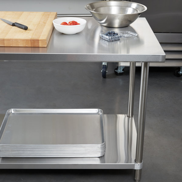 "Regency 30"" x 96"" 16-Gauge 304 Stainless Steel Commercial Work Table with Undershelf Main Image 2"