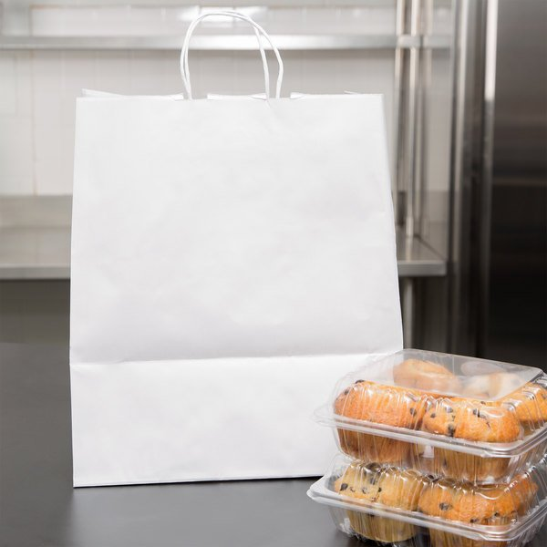 "Duro Super Royal White Paper Shopping Bag with Handles 14"" x 10"" x 15 3/4"" - 200/Bundle"