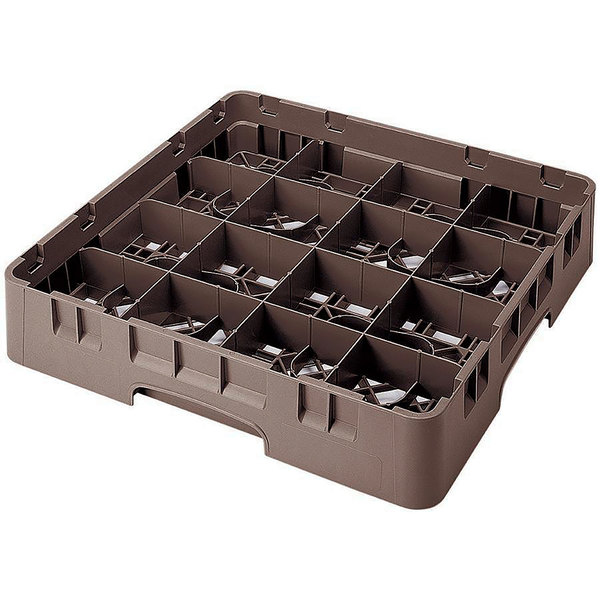 "Cambro 16S1114167 Camrack 11 3/4"" High Customizable Brown 16 Compartment Glass Rack"