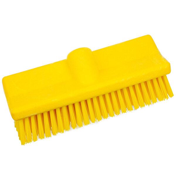 """Carlisle 40423EC04 Sparta Spectrum 10"""" Hi-Lo Yellow Floor Scrub Brush Main Image 1"""