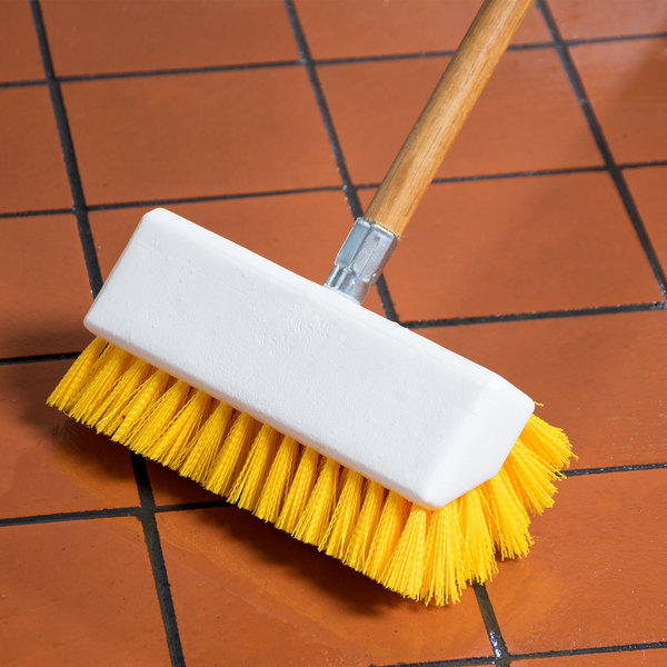 "Carlisle 4042304 Sparta Spectrum 10"" Hi-Lo Yellow Floor Scrub Brush Main Image 5"