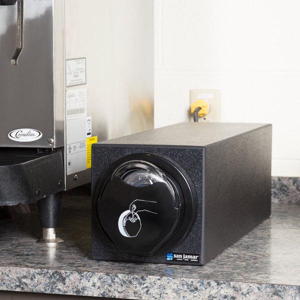 San Jamar L2920BK EZ-Fit Black 1-Slot Vertical 24 - 46 oz. Countertop Lid Dispenser Cabinet with Black Trim Ring Main Image 6