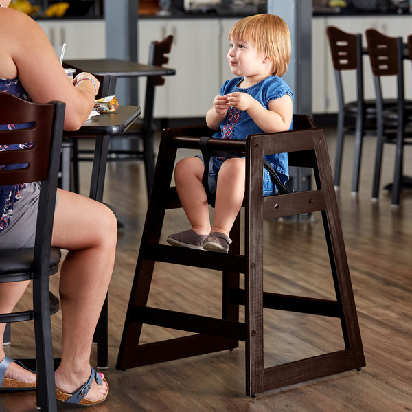 Lancaster Table & Seating Ready-to-Assemble Stacking Restaurant Wood High Chair with Dark Finish Main Image 4