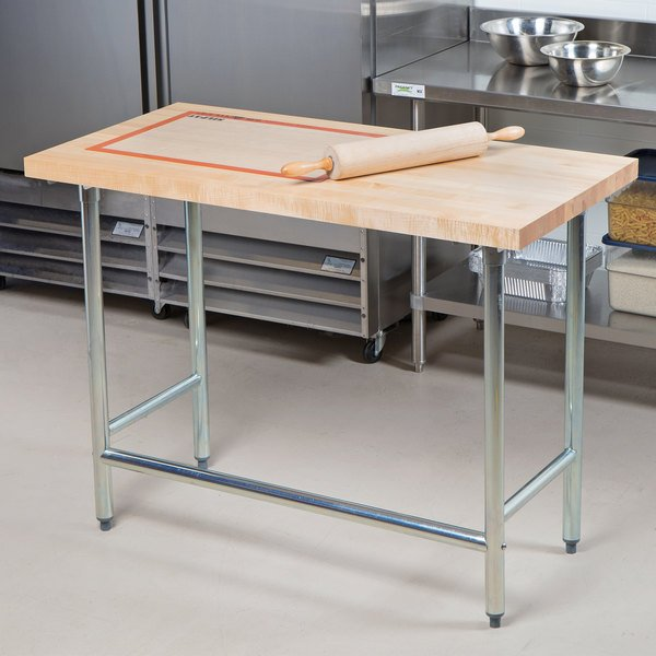 """Advance Tabco TH2G-364 Wood Top Work Table with Galvanized Base - 36"""" x 48"""""""